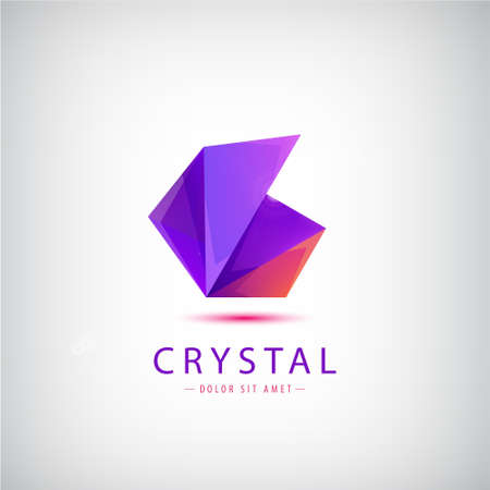 Vector abstract origami colorful 3d icon isolated. Purple triangle geometric