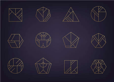 Vector set of abstract geometric  Art deco, hipster, golden line style icons 向量圖像