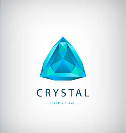 Vector abstract origami,crystal geometric shape,  company identity. Modern futuristic, tech icon