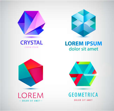 Vector set of geometric, origami abstract 3d shapes, hexagon, crystal