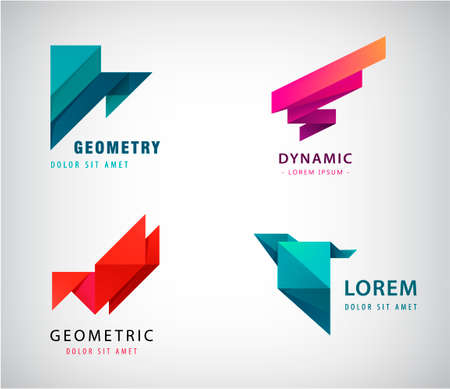 Vector set abstract origami  triangles modern 3d shapes, icon isolated.