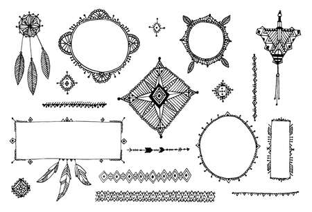 Vector boho decor set, collection of hand drawn doodle borders, dividers, design elements, arrows. Isolated. May be used for wedding invitations, birthday cards, banners