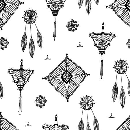 Vector abstract vintage hand drawn pattern, seamless boho black and white background. Lace decor elements