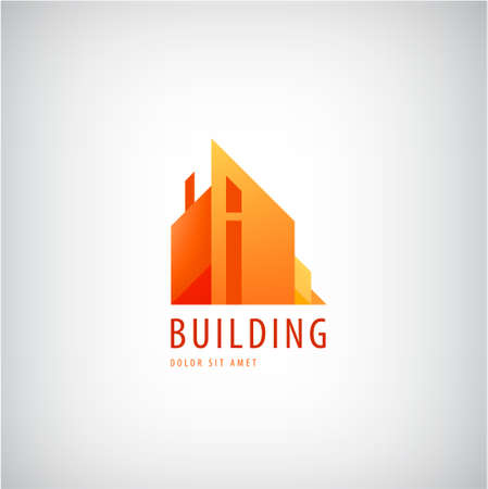 Vector multicolored real estate  designs for business visual identity, building, cityscape icon, houses, architecture construction.