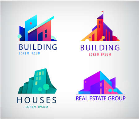 Vector set of colorful real estate  , city and skyline icons, illustrations. Architect construction concepts