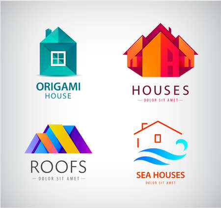 Vector set of house  , real estate concept, building construction icon.