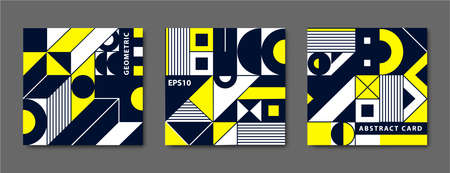 Vector set of vintage swiss graphic, geometric bauhaus shapes, cards. Posters in minimal modernism style. Black, yellow illustration of catalog album, square banner 向量圖像