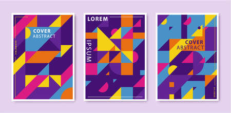 Vector set of abstract retro graphic design covers, geometric design template. Cool vintage shape compositions. 向量圖像