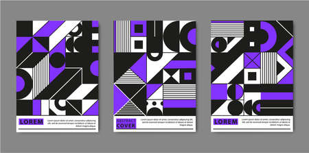 Vector cover templates set with trendy geometric patterns, purple, black, white colors. Minimal geometric posters, cards. Modern design for placards, posters, brochures