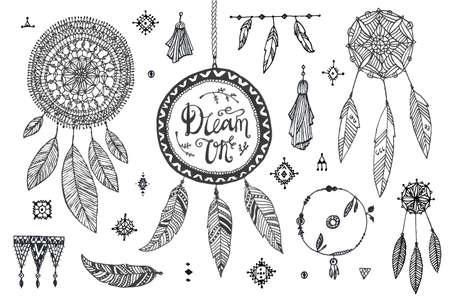 Vector boho decor set, collection of hand drawn doodle borders, dream catchers, dividers, design elements, arrows. Isolated. May be used for wedding invitations, birthday cards 向量圖像