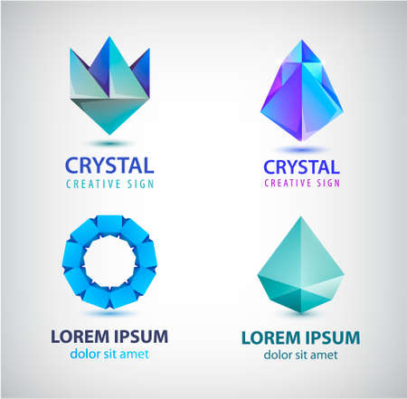 Vector collection of geometric polygon logos, abstract facet crystal gem icons, circle loop