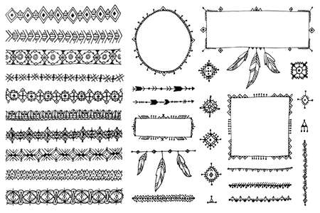 Vector floral decor set, collection of hand drawn doodle boho style dividers, borders, arrows design elements. Isolated. May be used for wedding invitations, birthday cards