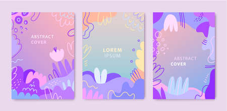 Vector set of abstract, artistic creative cards, covers with different shapes and textures. Modern graphic collage design. Design for poster, invitation, cover, placard, brochure, flyer