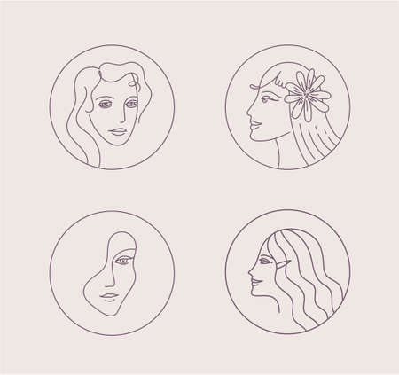 Vector line woman logo for business, social net profile. Beauty, health, personal hygiene, cosmetics. A female face. Use for beauty salon, health industry, makeup artist