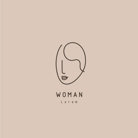 Vector minimal face, linear artistic logo. Social net, emblem for beauty studio and cosmetics - female portrait, beautiful woman s face - badge for make up artist, fashion