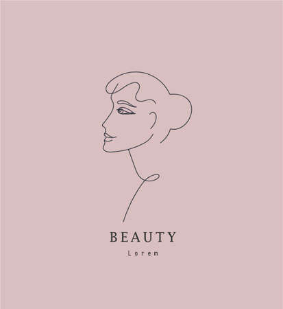 Vector minimalist linear woman illustration, abstract continuous line drawing face. Modern one line art, female portrait. Use for social net, poster, wall art, tote bag, t-shirt print, sticker