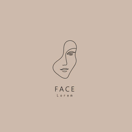 Vector minimal face, linear artistic logo. Social net, emblem for beauty studio and cosmetics - female portrait, beautiful woman s face - badge for make up artist, fashion. 向量圖像