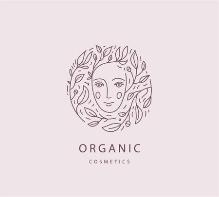 Vector abstract organic, eco, natural care line logo. Woman face with leaves and flowers around, feminine