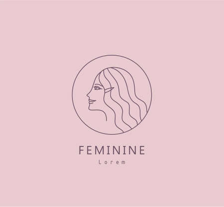 Vector abstract logo and female branding design, trendy linear minimal style, emblem for beauty studio and cosmetics portrait