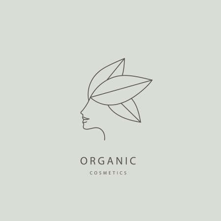 Vector abstract organic, eco, natural care line logo. Woman face with leaves, feminine, spa care