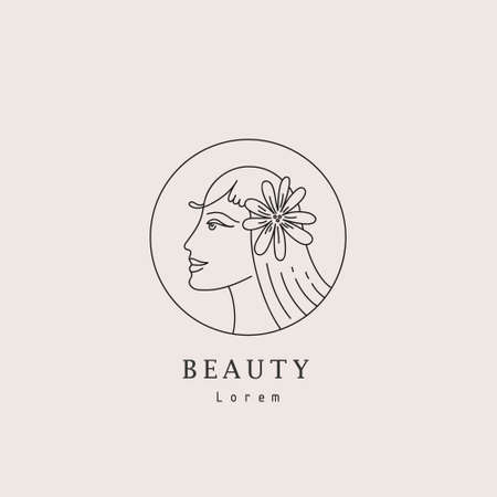 Vector abstract logo and female branding design, trendy linear minimal style, emblem for beauty studio and cosmetics, beautiful woman s face with flower in hair - badge for make up artist
