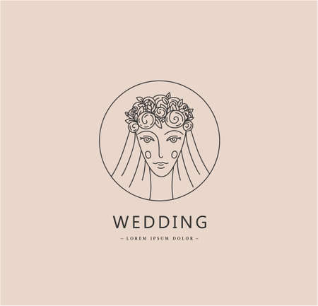 Vector woman face logo, bride, wedding linear minimal sign. Beauty, lady with veil and floral wreath linear illustration. Use for social net profile, card, branding