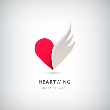 Vector red heart half logo with wing. Abstract icon concept, freedom, love, support