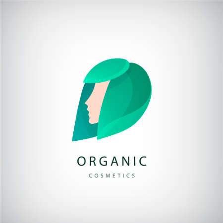 Vector woman s face with green leaves around, logo design template. Hair, girl logotype. Abstract design concept for beauty salon, organic cosmetics, natural care, massage, spa