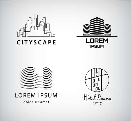 Vector set of silhouette logos city, architecture, office building, real estate. 向量圖像