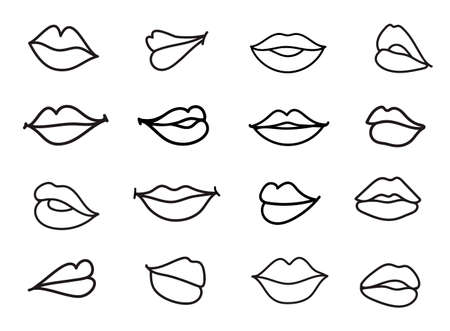 Vector set of lips illustration. Linear sketch women lips