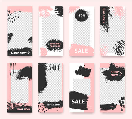 Vector fashion, cosmetics, grunge style stories. Trendy editable template for social networks story, illustration. Design backgrounds