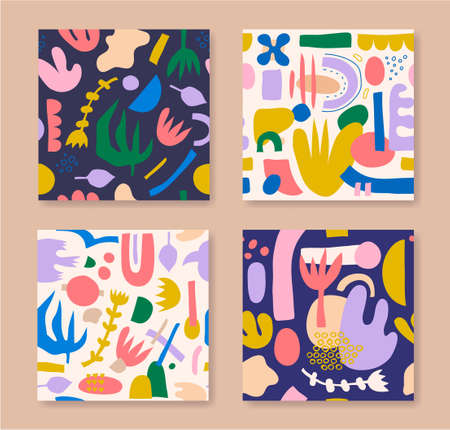 Vector set of seamless collage patterns. Colorful backgrounds with geometric hand drawn doodle shapes, flowers. Abstract contemporary modern trendy 向量圖像