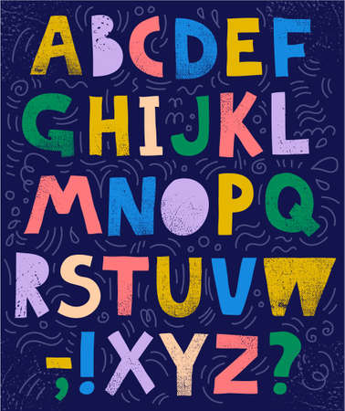 Vector sketchy, collage font, abc. Colorful textured letters and signs