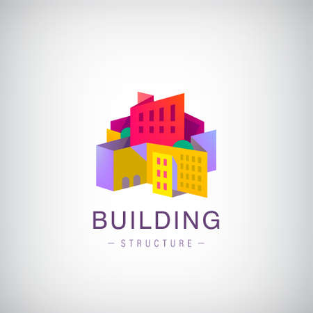 Vector origami building structure, city scape construction, colorful 3d logo, icon. Real estate, houses Logo