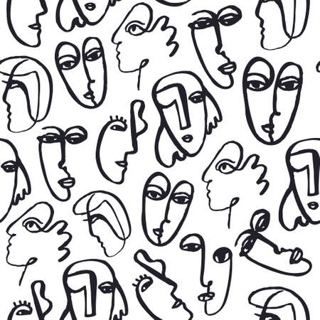 Vector hand dawn faces seamless pattern. Ink painted abstract cubism people background, doodle, sketch, art poster. Modern abstract faces