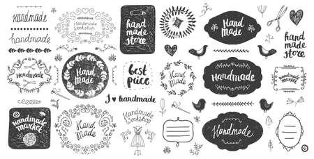 Vector set of floral decor, hand drawn doodle frames. Handmade, workshop, hand made shop graphic design set.