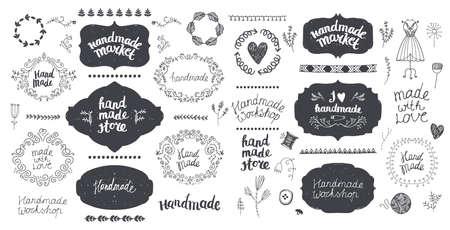 Vector set of floral decor, hand drawn doodle frames.