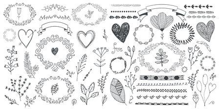 Vector set of floral decor, hand drawn doodle frames