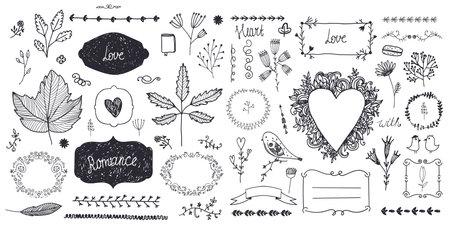 Vector set of floral decor, hand drawn doodle illustration.