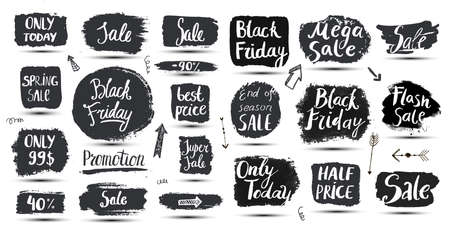 Vector set of hand drawn grunge sale banners, doodle brush lettering promotion banners, tags. Christmas, new year, black friday, cyber monday or winter autumn sale