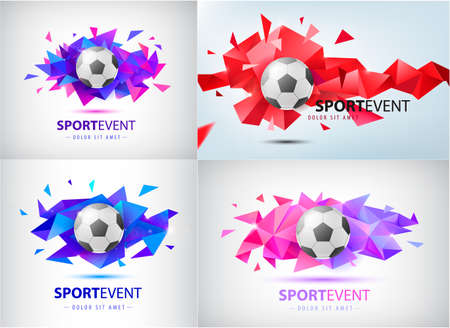 Vector set for football teams and tournaments, championships soccer. isolated. Football ball on colorful faceted origami abstract background.