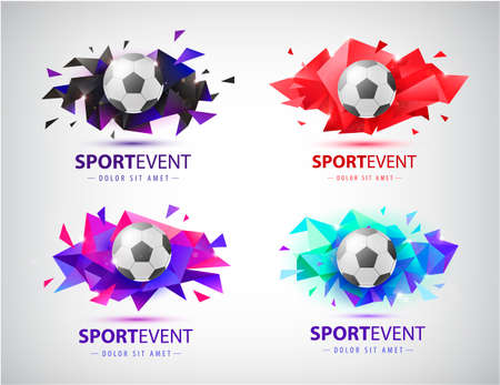 Vector set of logos for football teams and tournaments, championships soccer. isolated. Football ball on colorful faceted origami abstract background.