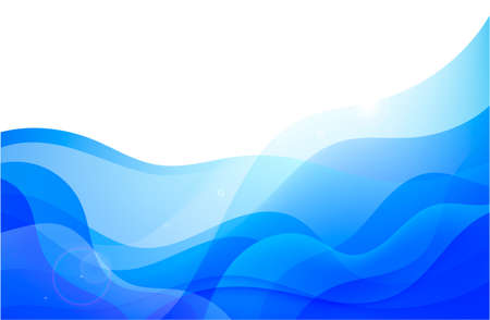 Vector wavy abstract geometric background, blue flow hoizontal banner. Trendy gradient shapes composition 向量圖像