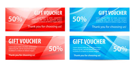 Vector set of gift vouchers with wavy shiny blue, red background. Abstract flow banners