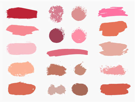 Vector set of vector swatches makeup strokes. Beauty cosmetic brush stains smear, make up lines collection, lipstick texture isolated. Hand drawn illustration 向量圖像