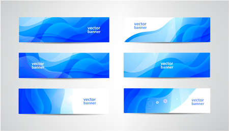 Vector abstract flow wavy banners set. Water, stream, energy stream horizontal backgrounds. Wave Liquid, transparent 向量圖像