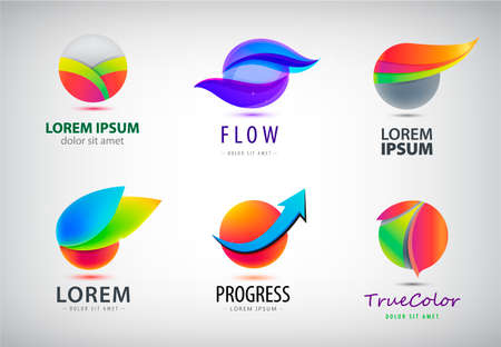 Vector set of abstract sphere, round 3d logos. Trendy global multicolor icons 向量圖像