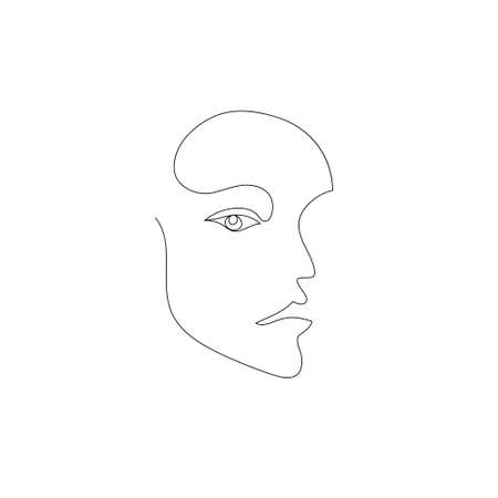 Vector hand drawn linear art, woman face, continuous line, fashion concept, feminine beauty minimalist. Print, illustration for t-shirt, design, logo for cosmetics 向量圖像