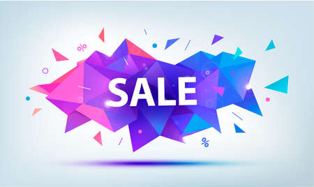 Vector sale faceted 3d banner, poster. Colorful illustration. Geometric shape discount, banner, poster 向量圖像