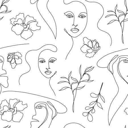 Vector seamless pattern. Continuous line art with woman face, flowers, leaves. Linear nature background. Use for package, cosmetics, decor. Fashion concept, feminine beauty minimalist